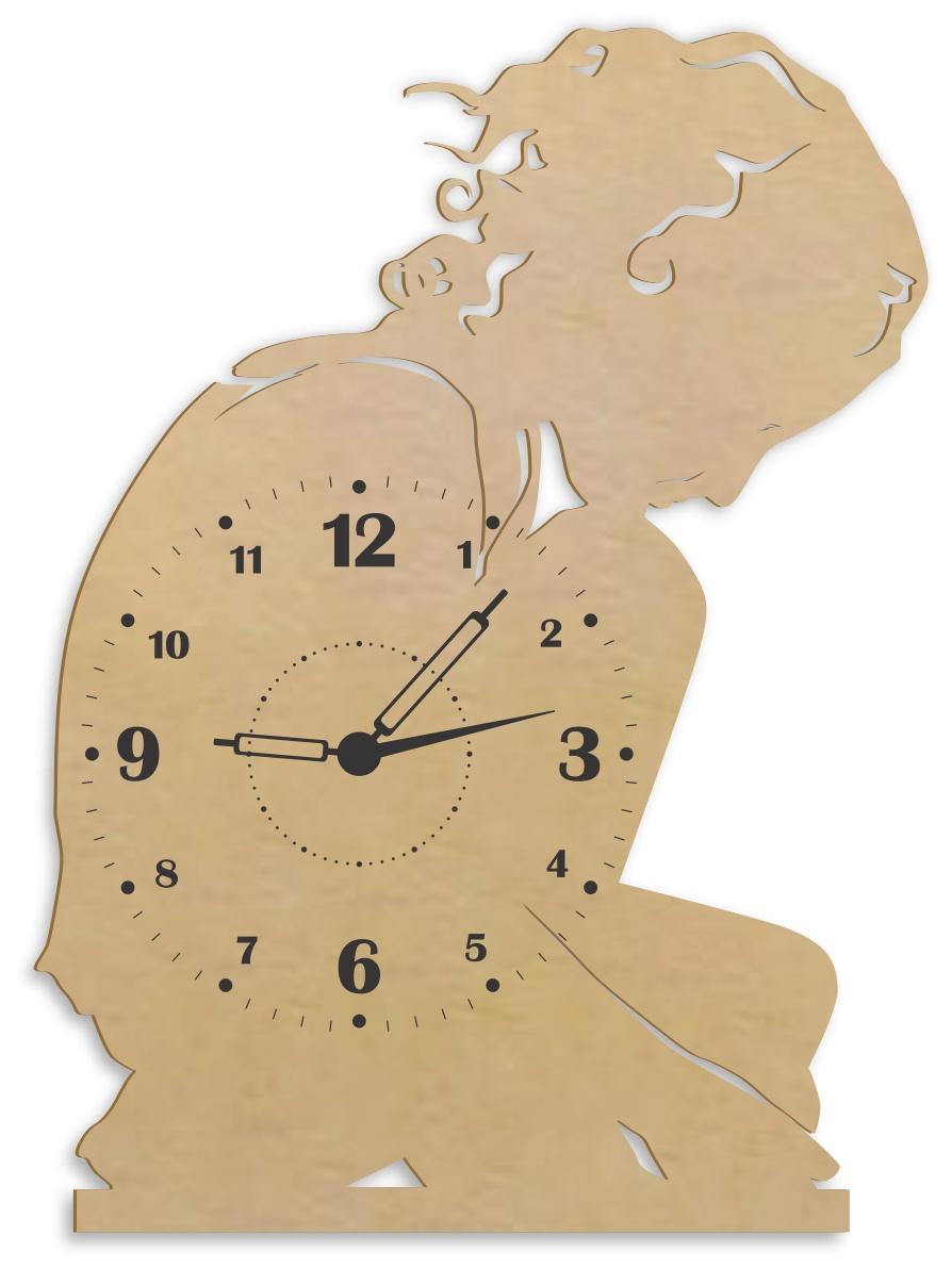 Laser Cut Lonely Girl Wall Clock Wall Decor Free CDR Vectors Art