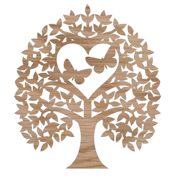 Laser Cut Heart Tree With Butterflies Tree Of Love Free CDR Vectors Art