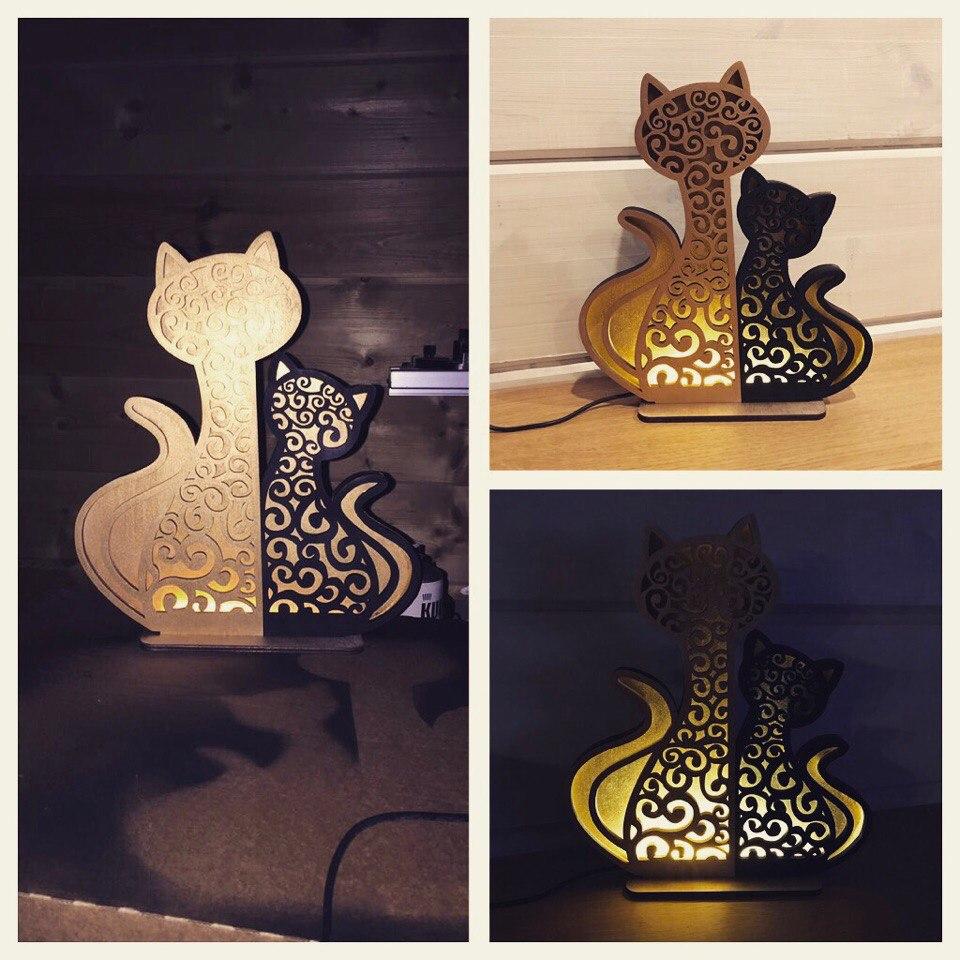 Cat And Kitten Night Light Lamp Home Decor Free CDR Vectors Art