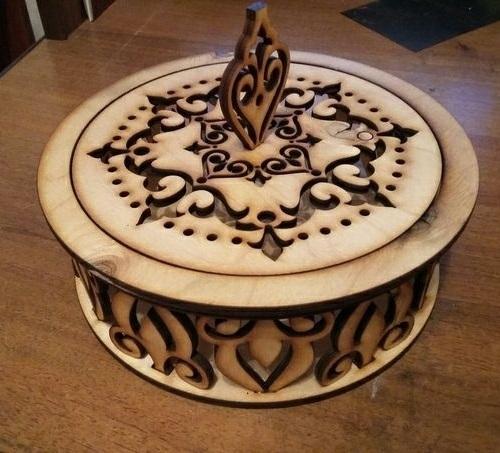Laser Cut Decorative Candy Bowl Wooden Candy Dish Free CDR Vectors Art