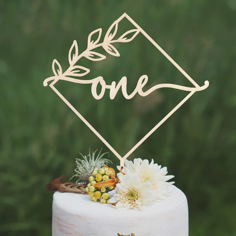 Laser Cut First Birthday Cake Topper Free CDR Vectors Art