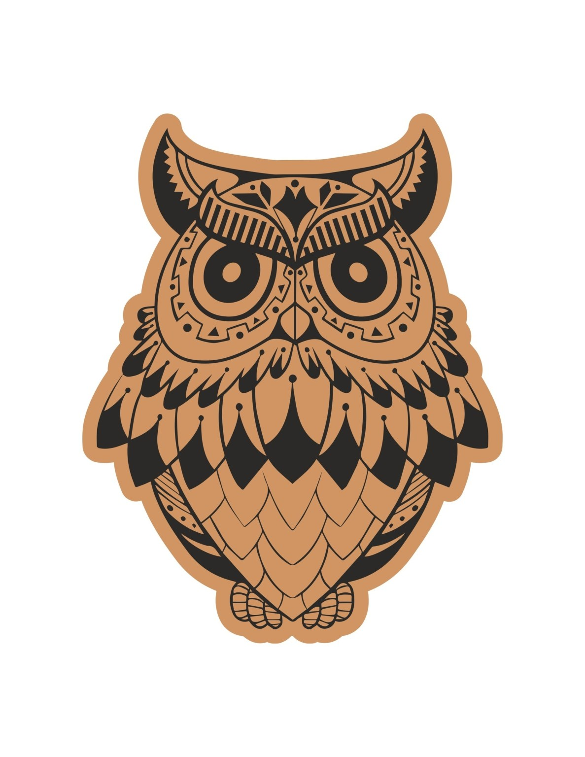 Angry Owl Laser Cut Engraving Template Free CDR Vectors Art