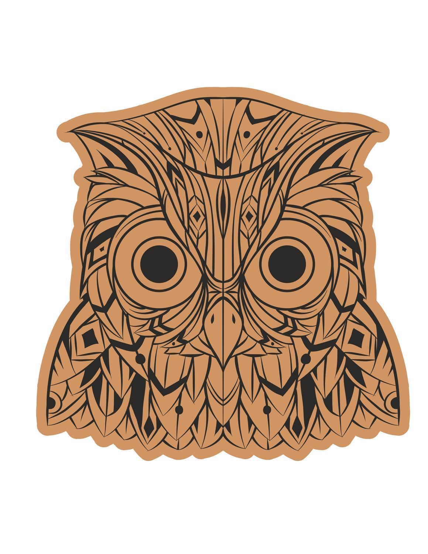 Decorative Owl Head Laser Cut Engraving Template Free CDR Vectors Art