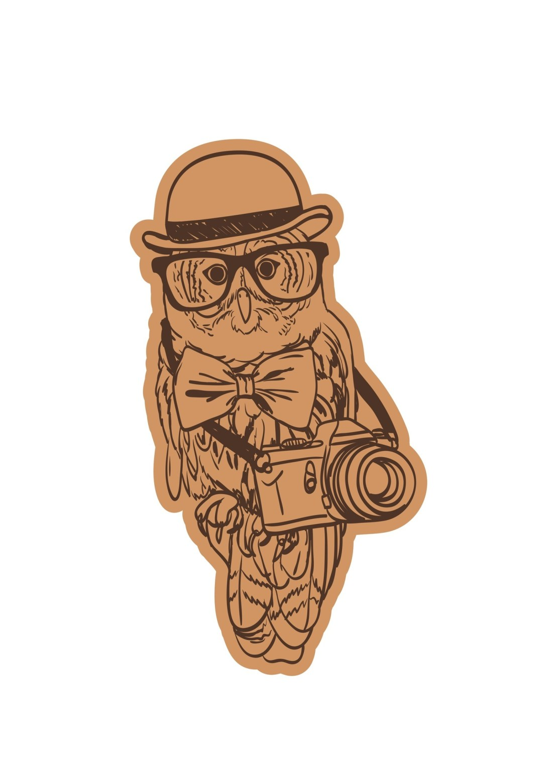 Owl Wearing Cap With Camera And Glasses Laser Cut Engraving Template Free CDR Vectors Art