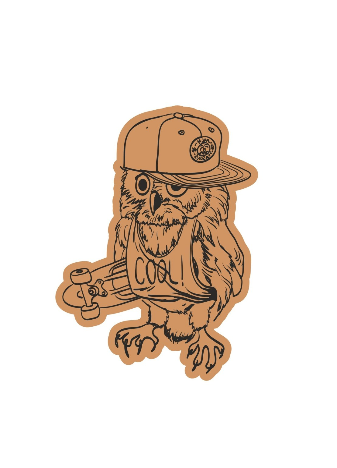 Skater Owl With Cap Laser Cut Engraving Template Free CDR Vectors Art