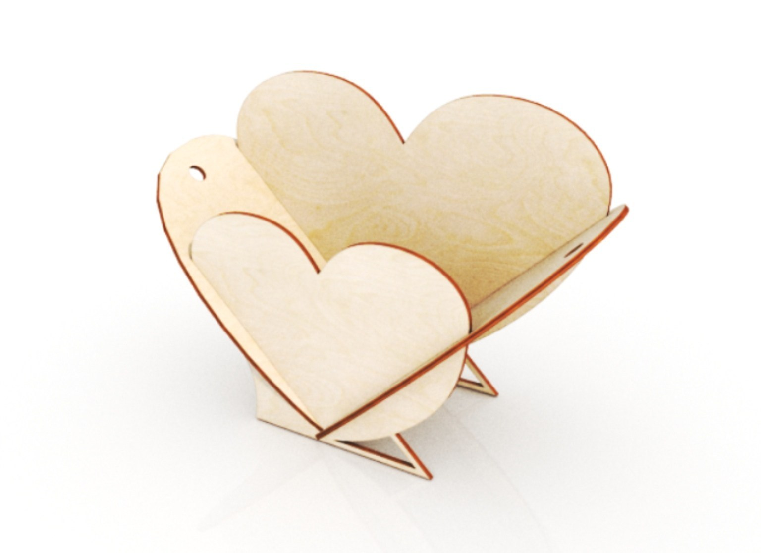 Heart Shape Flower Basket Laser Cutting Template 3mm Free CDR Vectors Art