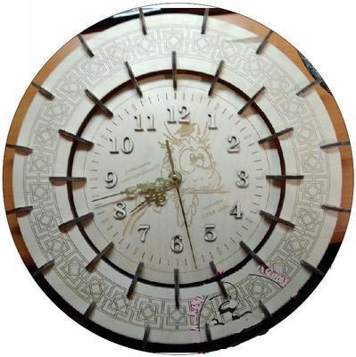 Laser Cut Engraved Owl Wall Clock Free CDR Vectors Art