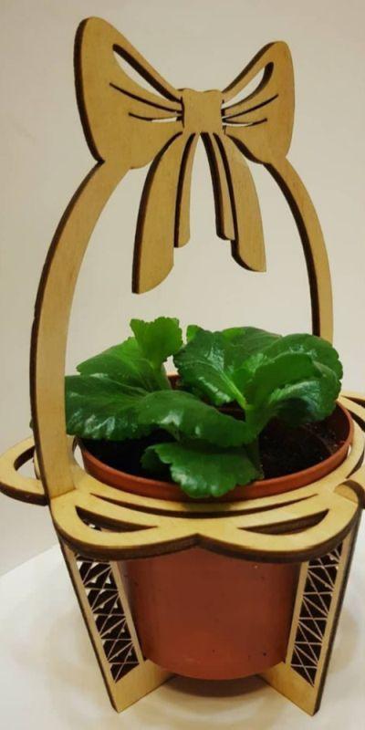 Laser Cut Wooden Flower Pot Holder Stand Free CDR Vectors Art