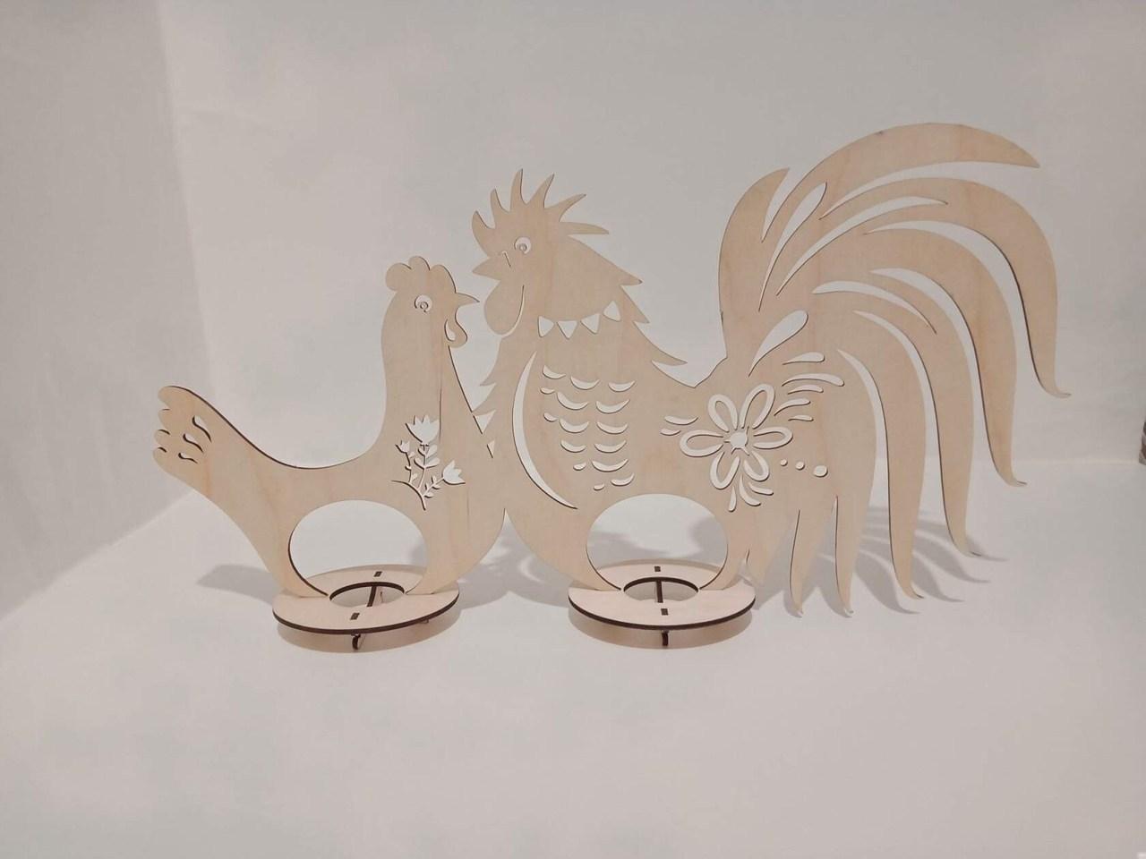 Wooden Hen Rooster Easter Egg Holder Laser Cutting Template Free CDR Vectors Art