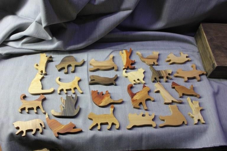 Wooden Cats Laser Cutting Template Free CDR Vectors Art