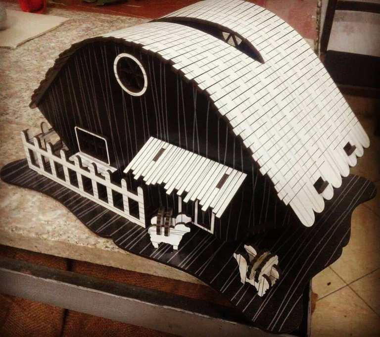 Farmhouse Tissue Box Laser Cutting Template Free CDR Vectors Art