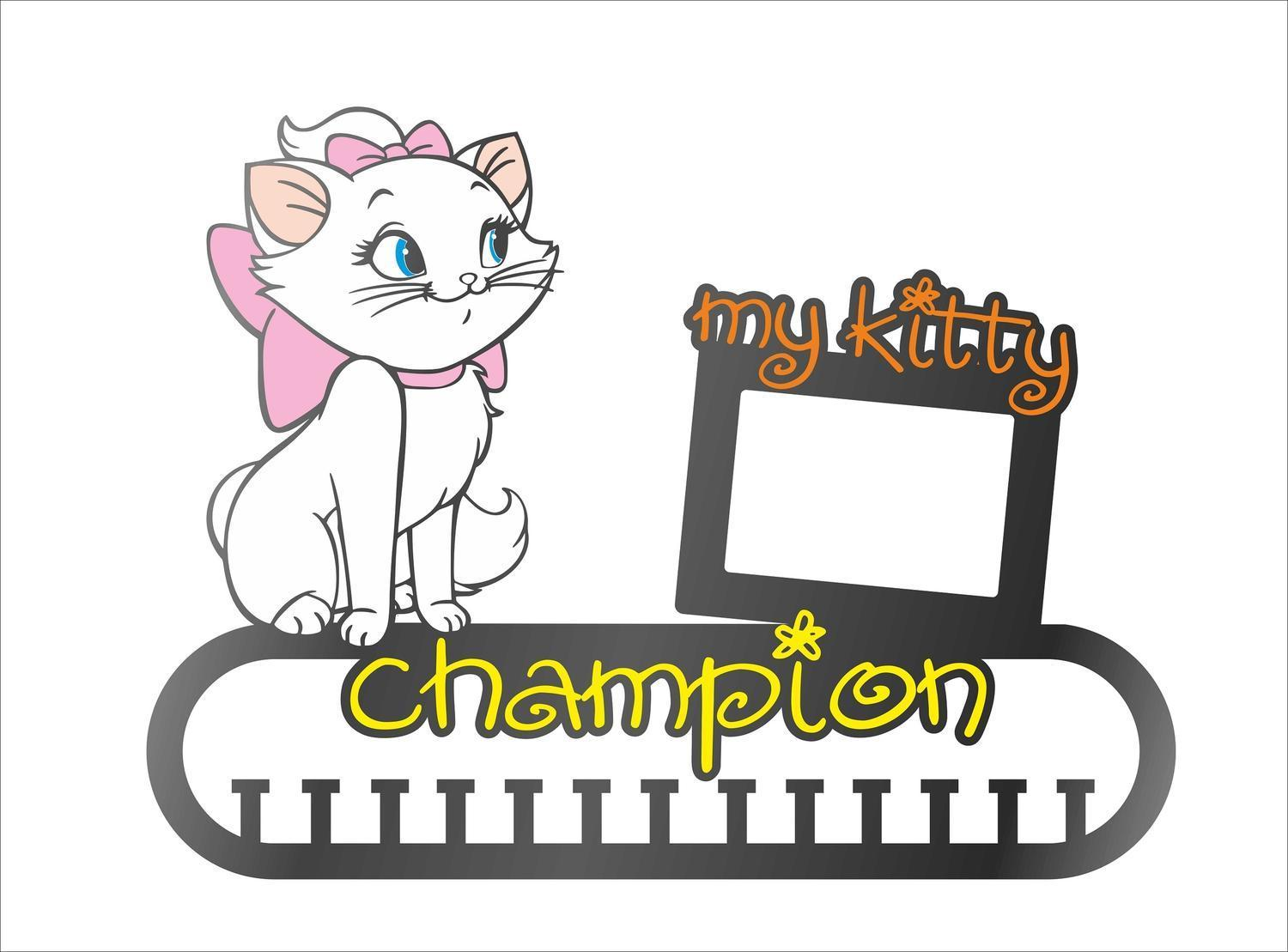 Cat Medal Holder With Photo Frame Laser Cut Template Free CDR Vectors Art