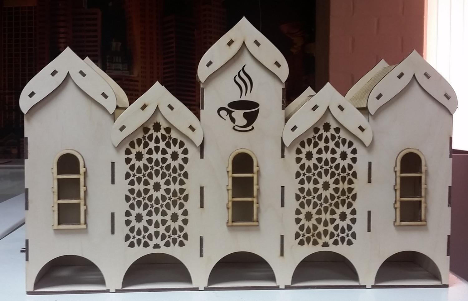 Laser Cut Plywood Tea House Tea Bags Holder With 5 Compartments Free DXF File