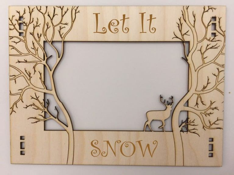 Wooden Photo Frame Jungle Theme Laser Cutting Template Free DXF File