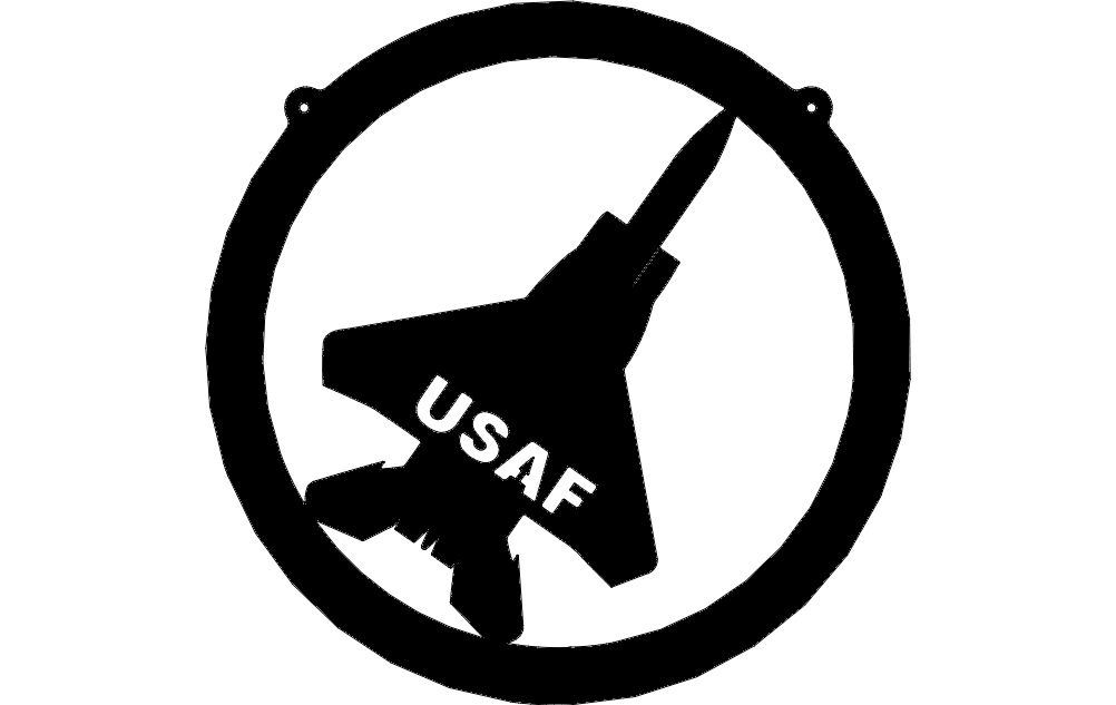 Usaf Aircraft f15 In Circle Silhouette Sketch Free DXF File