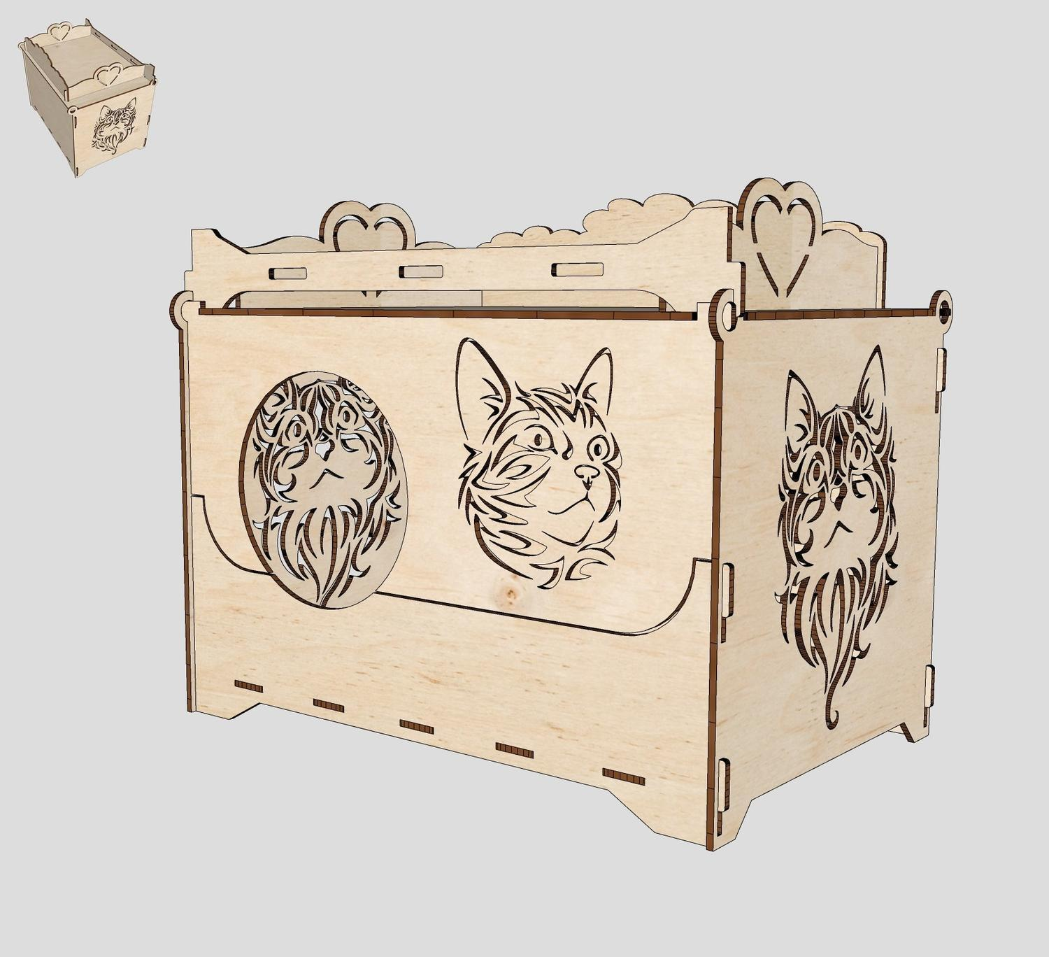Cat House Laser Cutting Template Free CDR Vectors Art