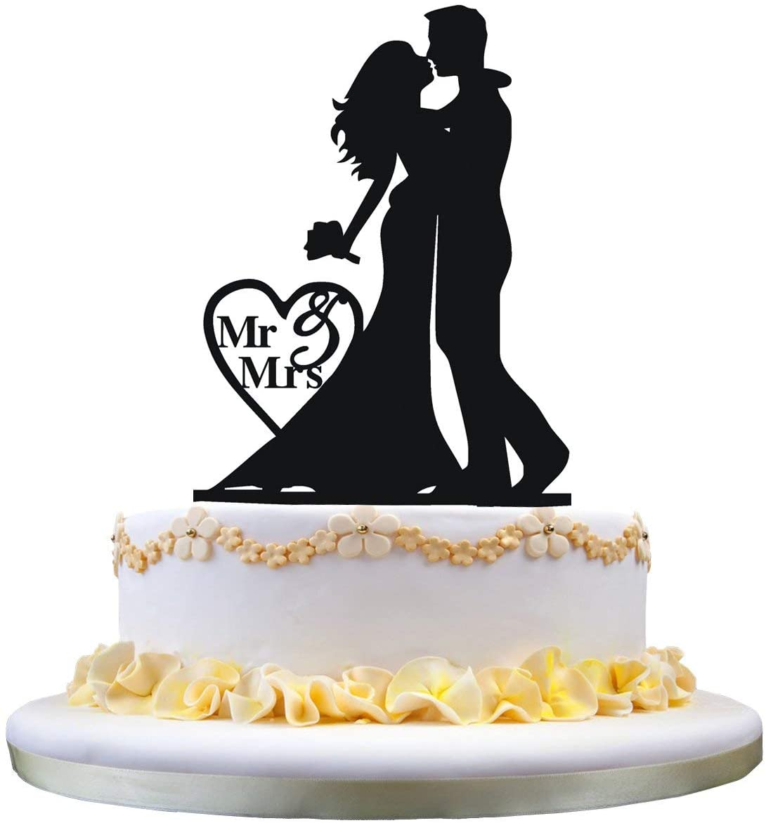 Laser Cut Bride And Groom Cake Topper For Wedding Free CDR Vectors Art