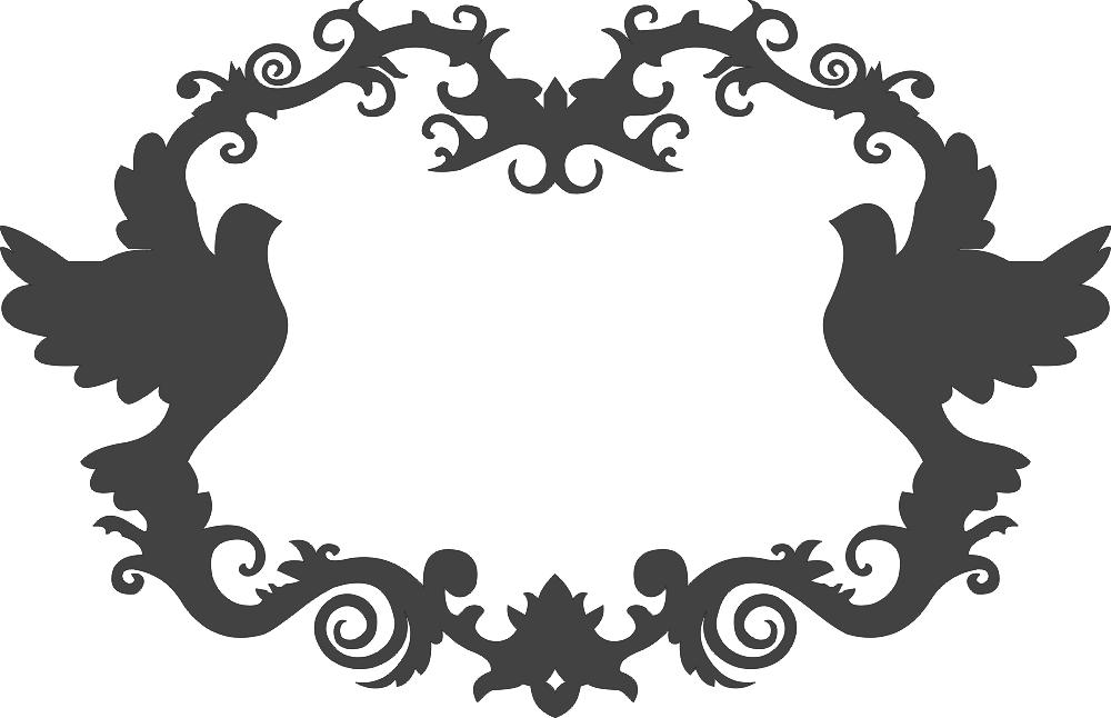 Ornamental Birds Decor Frame Free DXF File