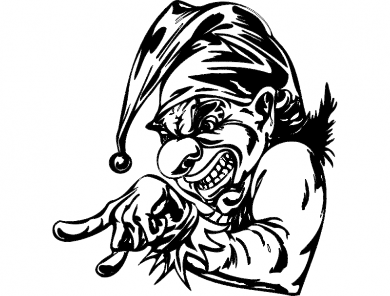 Scary Clown Face Free DXF File