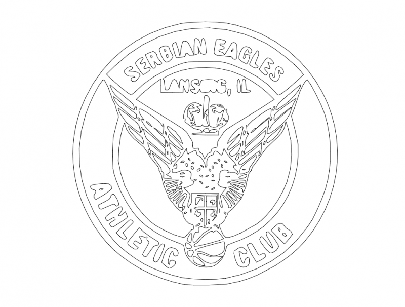 Serbian Eagles Athletic Club Emblem Drawing Free DXF File