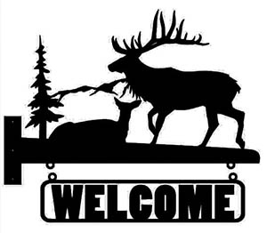 Welcome Sign Moose Silhouette Free DXF File