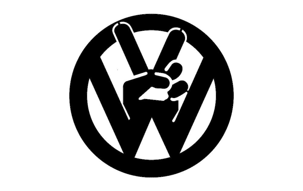Vw Peace Tabs Logo Free DXF File