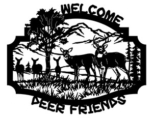 Welcome Deer Friends Free DXF File