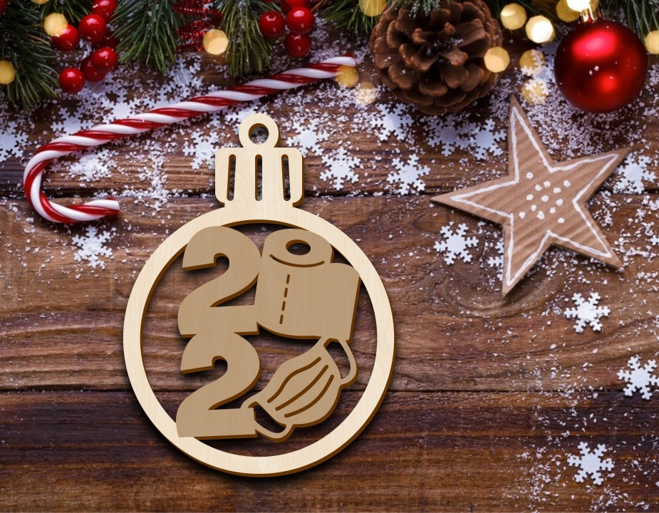 Laser Cut Christmas Ornament Tree Decoration With Mask Free CDR Vectors Art