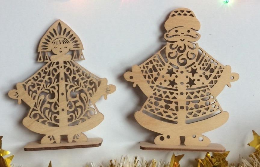 Laser Cut Ded Moroz And Snegurochka Christmas Decoration Russian Santa Father Frost Free CDR Vectors Art
