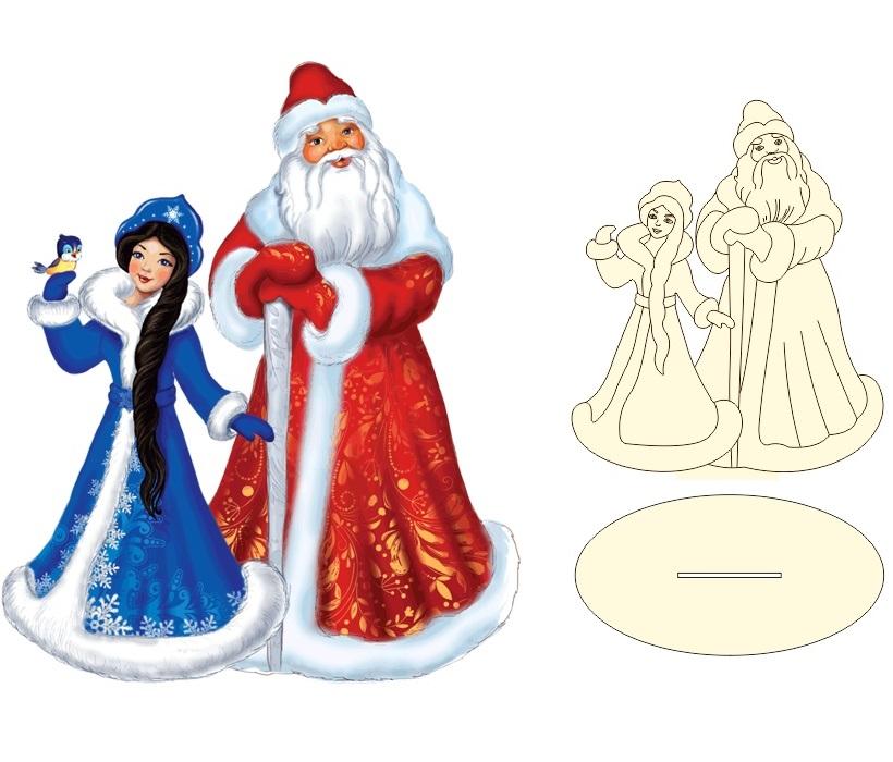 Laser Cut Santa Claus And Snowmaiden Christmas Decoration Free CDR Vectors Art
