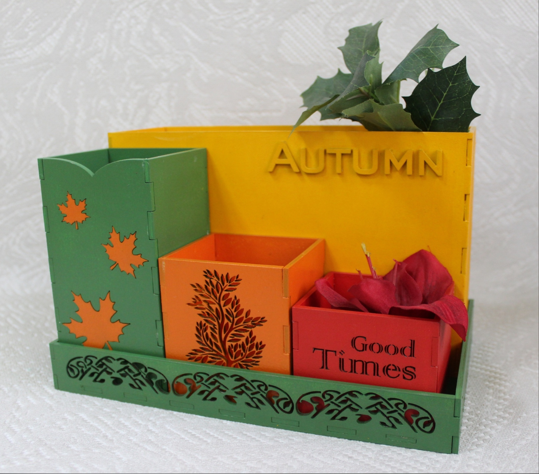 Laser Cut Autumn Desk Organizer Office Supplies Storage Free CDR Vectors Art