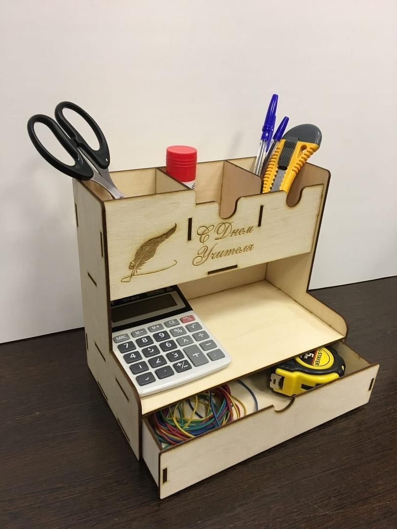 Laser Cut Office Home Supplies Desk Organiser Pen Holder Storage Box Free CDR Vectors Art