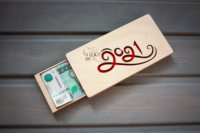 Laser Cut Money Gift Box Wooden Cash Envelope New Year 2021 Free CDR Vectors Art