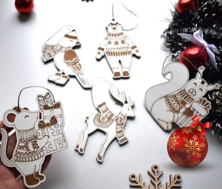 Laser Cut Animal Christmas Ornaments Free CDR Vectors Art