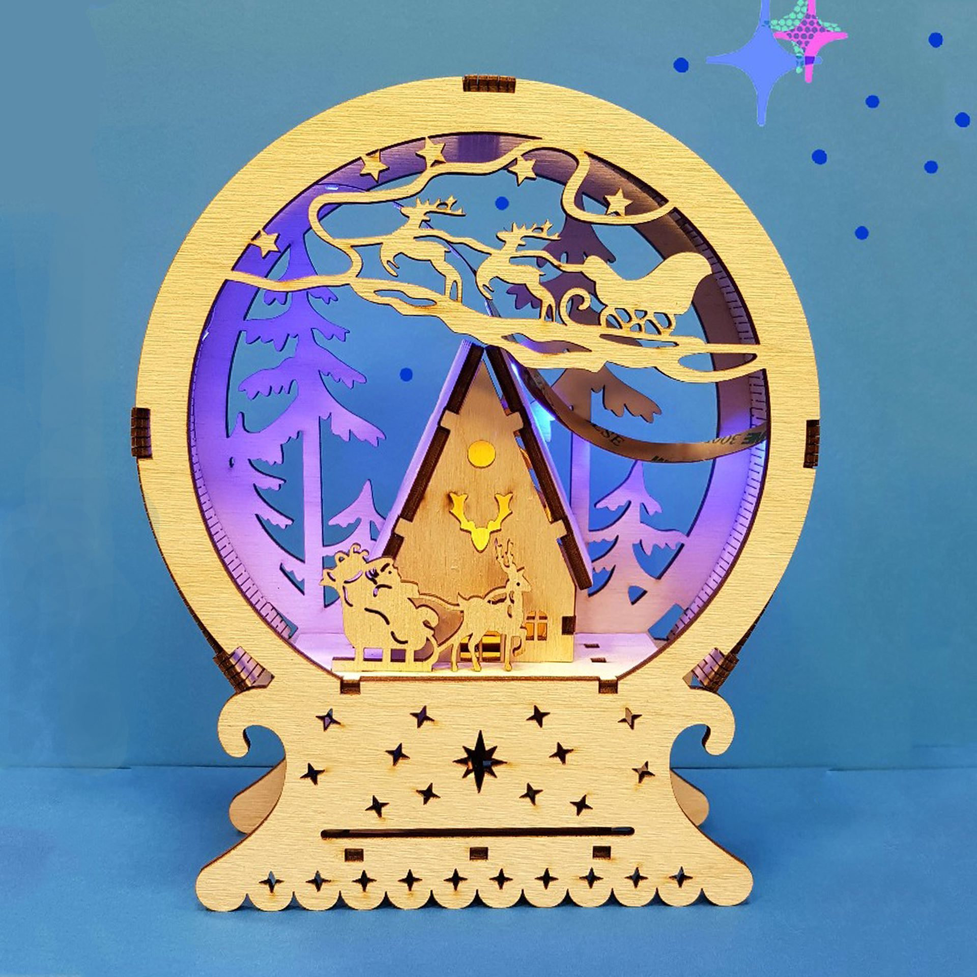 Laser Cut Christmas Gift New Year Night Lamp Free CDR Vectors Art