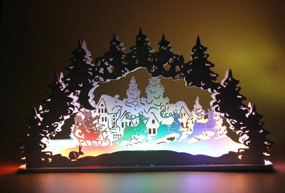 Laser Cut Christmas Santa Snowman Elk Lamp Night Light Desktop Xmas Decor Free CDR Vectors Art