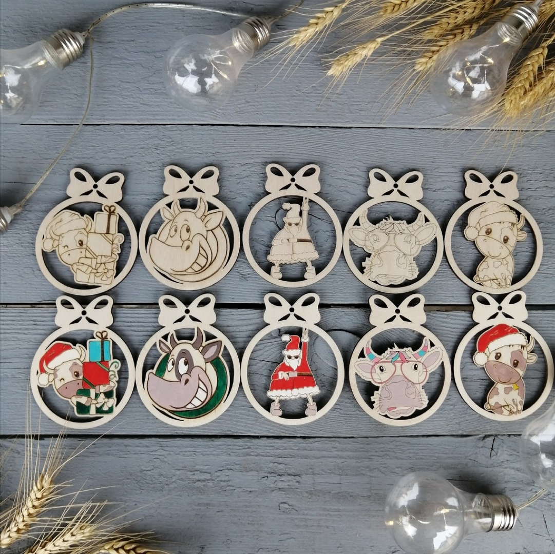 Laser Cut New Year Decor Wooden Christmas Ornaments Free CDR Vectors Art