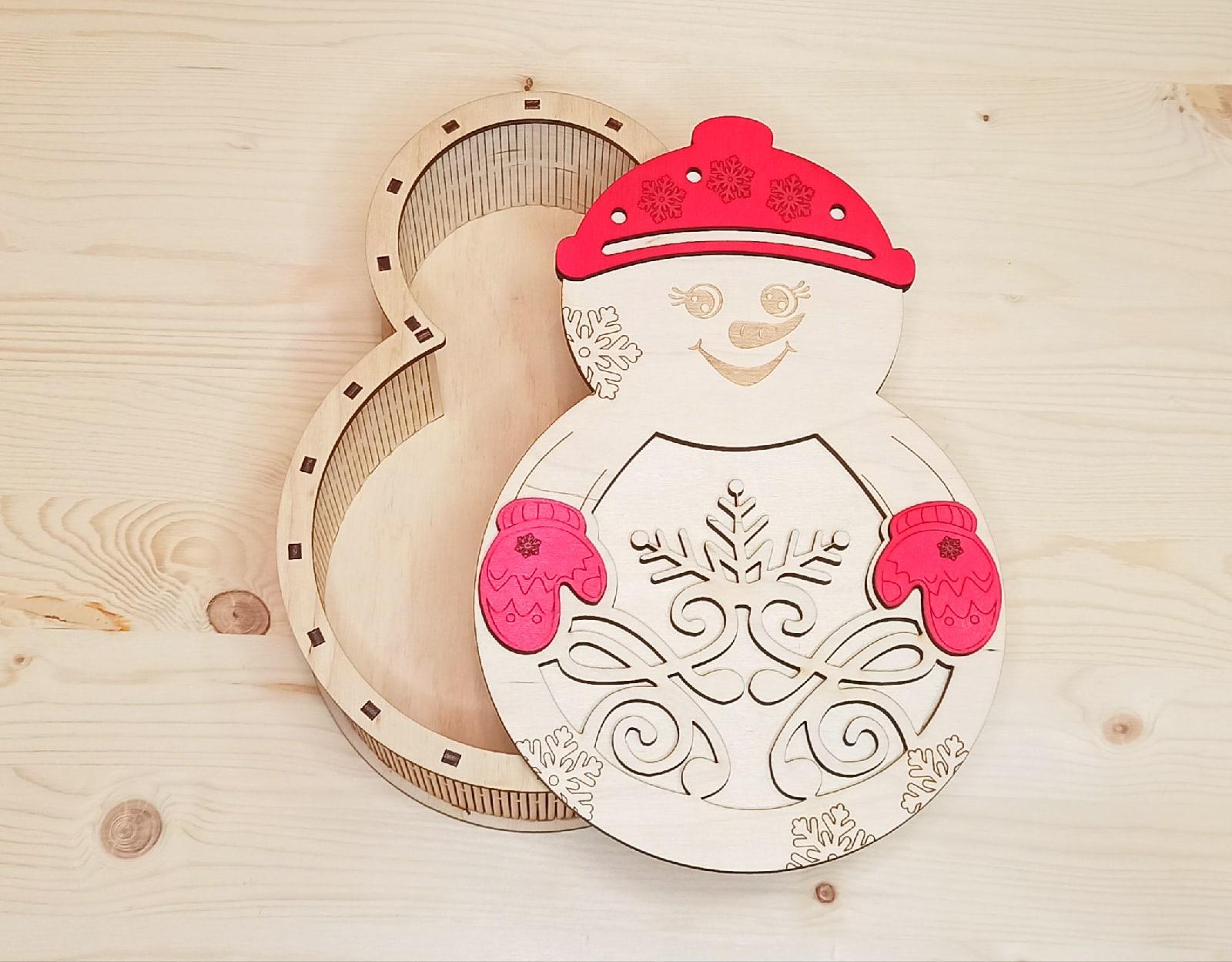 Laser Cut Snowman Candy Box Christmas Gift Box Free CDR Vectors Art