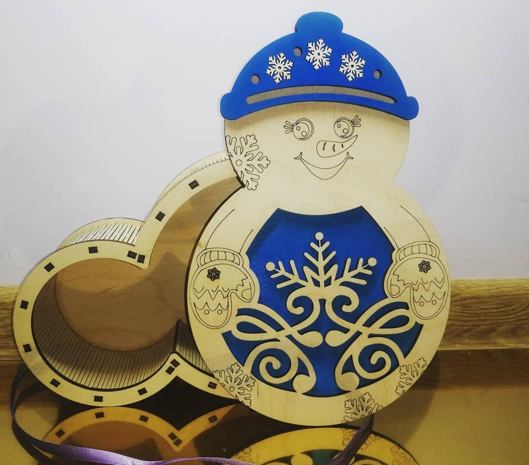 Laser Cut Snowman Christmas Gift Box Plywood Free CDR Vectors Art
