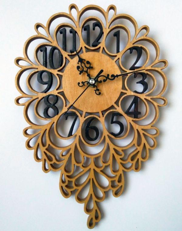 Laser Cut Decorative Clock Free CDR Vectors Art