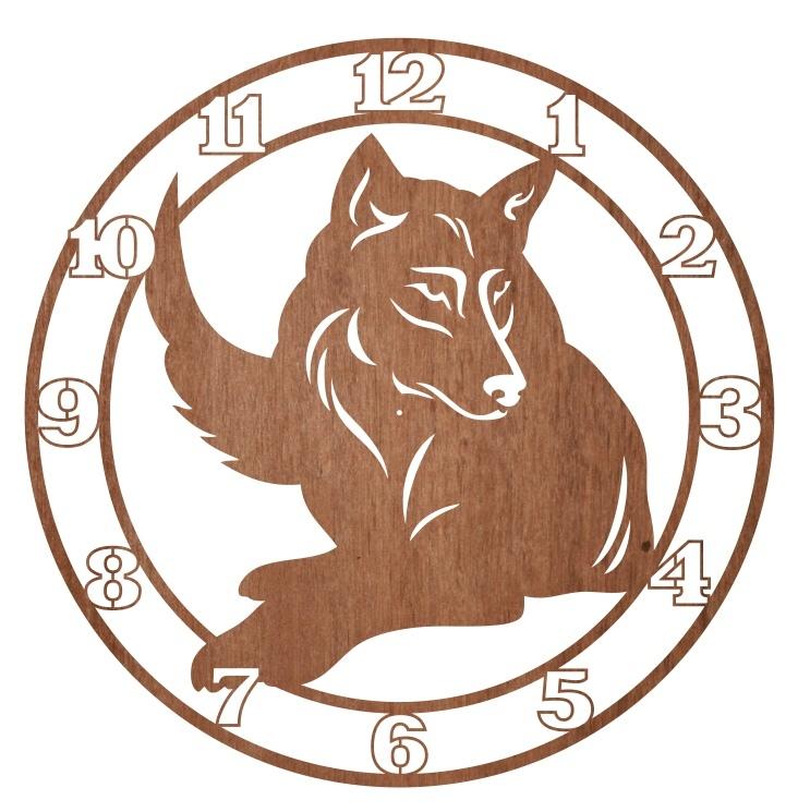 Laser Cut Engraved Wolf Wall Clock Free CDR Vectors Art