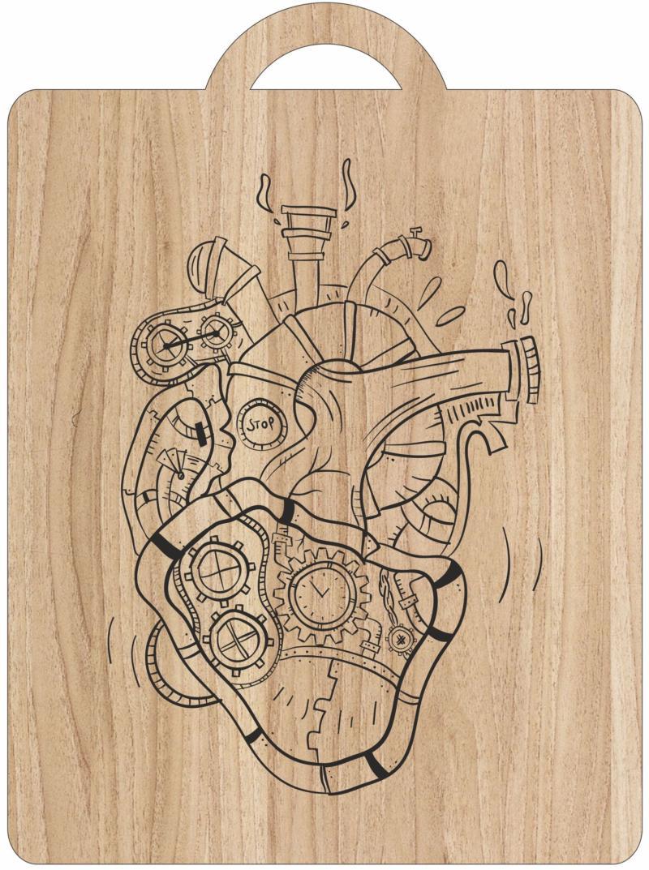 Laser Engraving Mechanical Heart Art On Cutting Board Free CDR Vectors Art