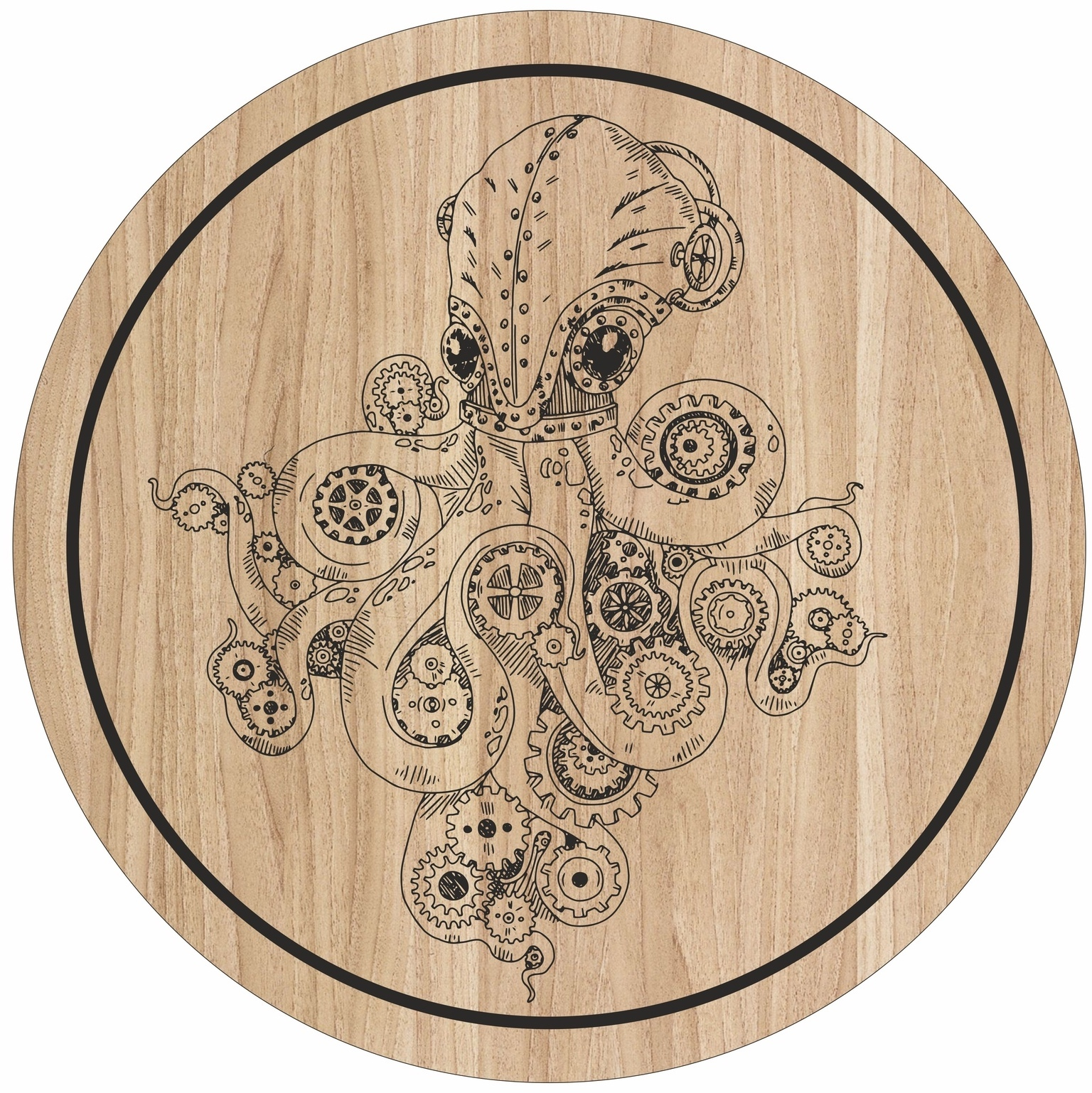 Laser Engraving Octopus Art For Cutting Board Free CDR Vectors Art