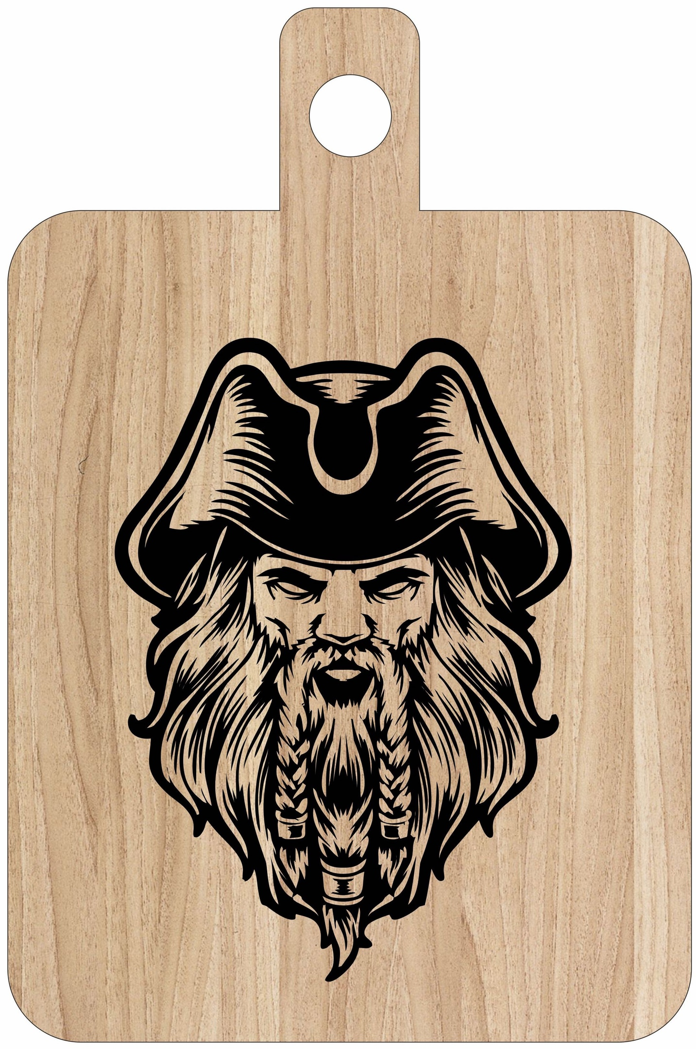 Laser Engraving Pirates Captain Art On Cutting Board Free CDR Vectors Art