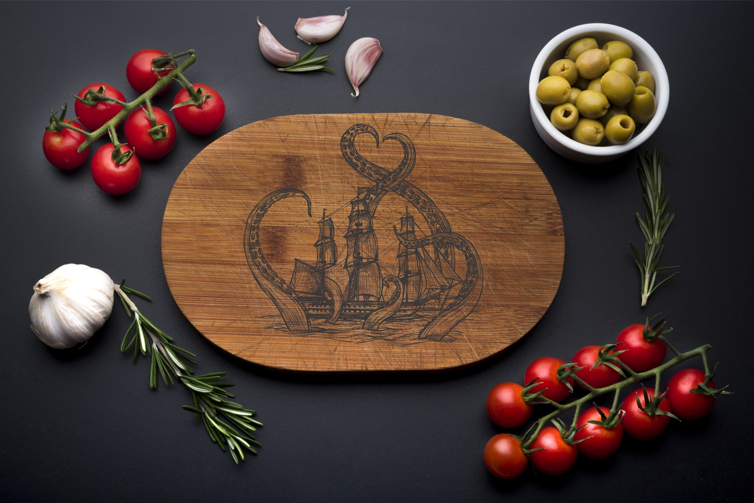 Laser Engraving Sailing Ship Drawing For Chopping Board Free CDR Vectors Art