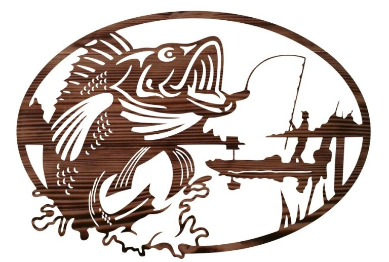 Fisherman Mural Wall Decor Laser Cutting Template Free CDR Vectors Art