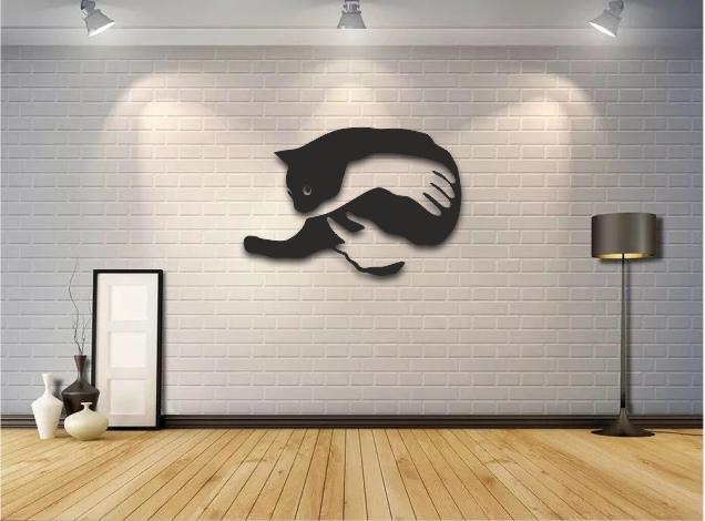 Laser Cut Cat Wall Art Free CDR Vectors Art