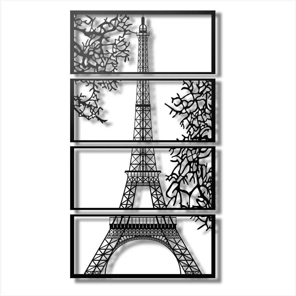 Laser Cut Eiffel Tower View Multi Panel Canvas Wall Art Free CDR Vectors Art