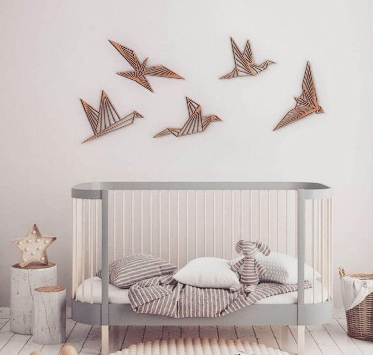 Laser Cut Wooden Birds Wall Decor Modern Wall Art Free CDR Vectors Art