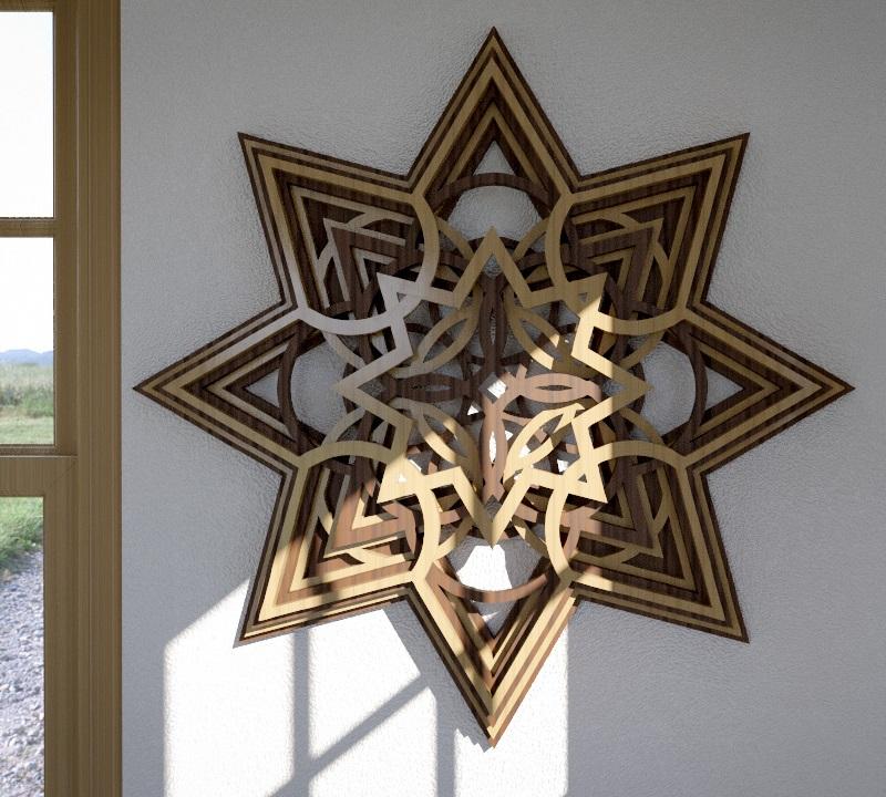 Laser Cut Wooden Star Layered Wall Art Free CDR Vectors Art